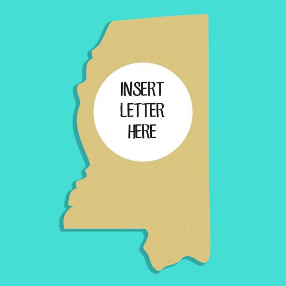 Mississippi Frame Letter Insert Wooden Monogram Unfinished DIY Craft