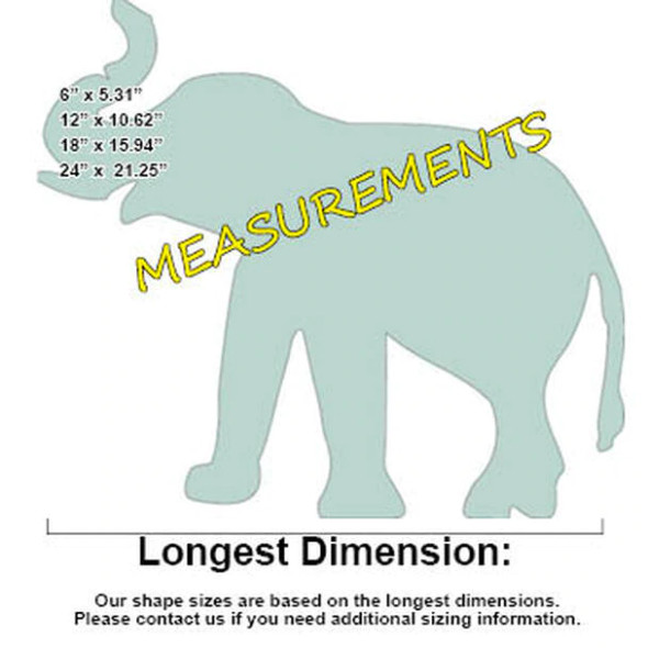 Elephant Unfinished Cutout, Paintable Wooden MDF-Measurements
