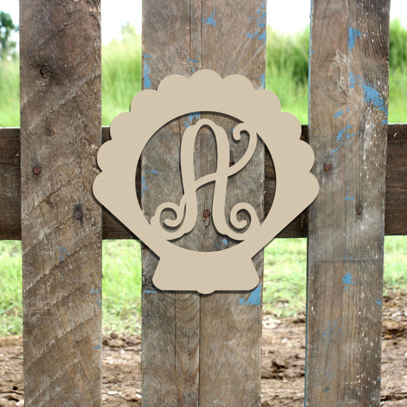 Seashell Frame Letter Monogram Wooden Unfinished DIY Craft