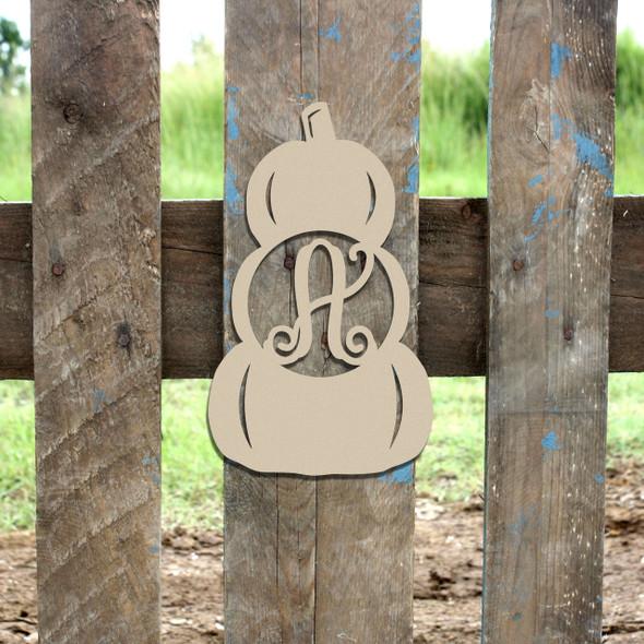 Monogram Letter,Stacked Pumpkin Frame Wooden DIY Craft