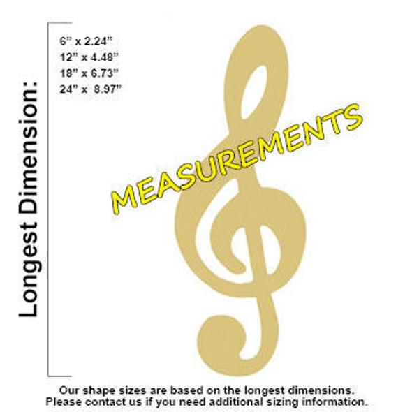 Music Note Treble Clef Unfinished Cutout measurements