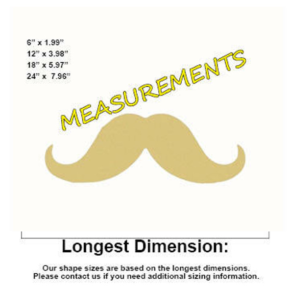 Mustache Unfinished Cutout Paintable Wooden MDF MEASUREMENTS
