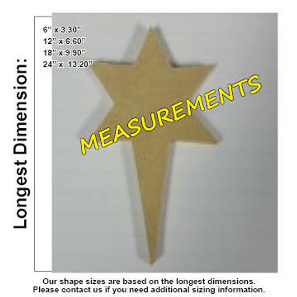 Nativity North Star Unfinished Cutout measurements