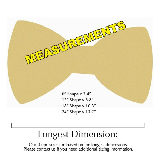 New York Bowtie Unfinished Cutout measurements