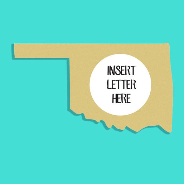 Oklahoma Frame Letter Insert Wooden Monogram Unfinished DIY Craft