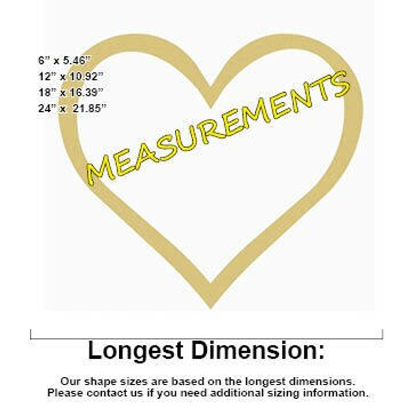 Open Heart Unfinished Cutout Paintable Wooden MDF measurements