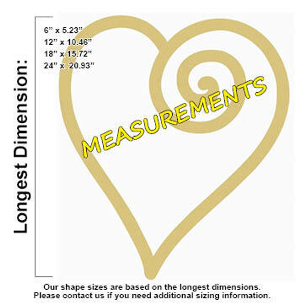 Open Swirl Heart Unfinished Cutout MEASUREMENTS