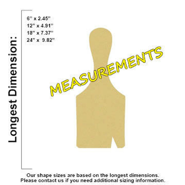 Paint Brush Unfinished Cutout MEASUREMENTS