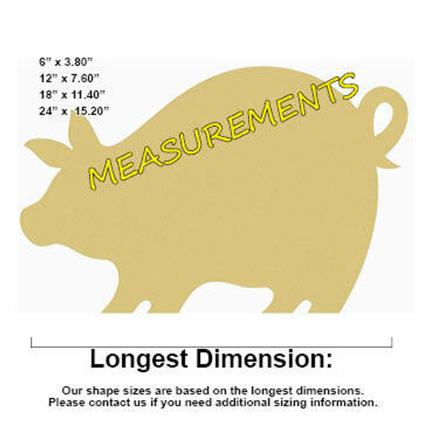 Pigglet Unfinished Cutout measurements