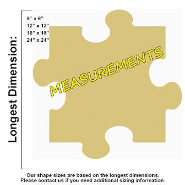 Puzzle Unfinished Cutout Paintable Wooden MDF measurements