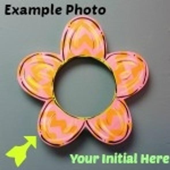 Flower Frame Letter Insert Wooden Monogram Unfinished DIY Craft