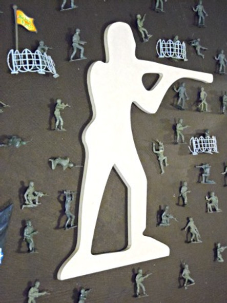 Rifle Man Unfinished Cutout, Wooden Shape, Paintable MDF  Craft