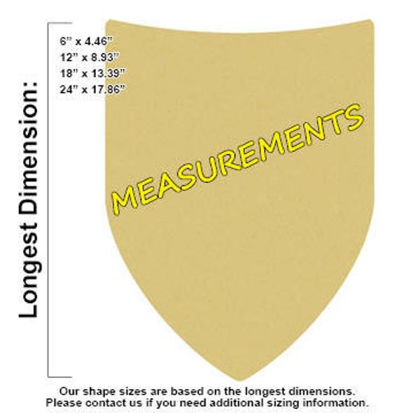 Roman Shield Unfinished Cutout measurements