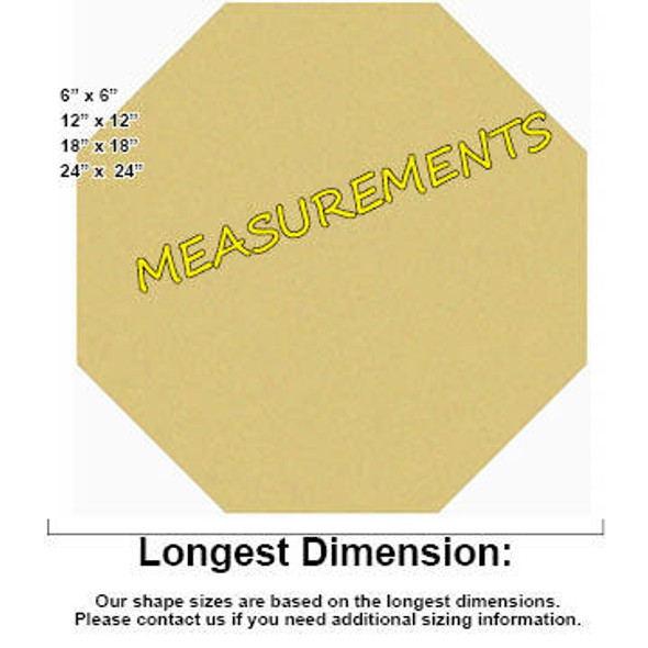 Octagon Unfinished Cutout Paintable Wooden MDF measurements