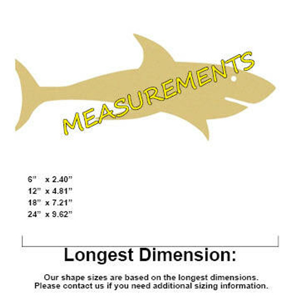 Shark Unfinished Cutout Paintable Wooden MDF measurements