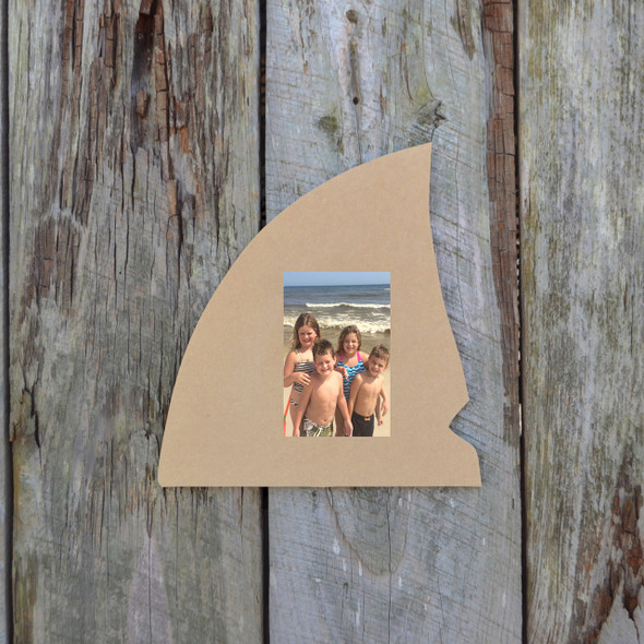 Shark Fin Picture Frame Unfinished Paint-able Cutout