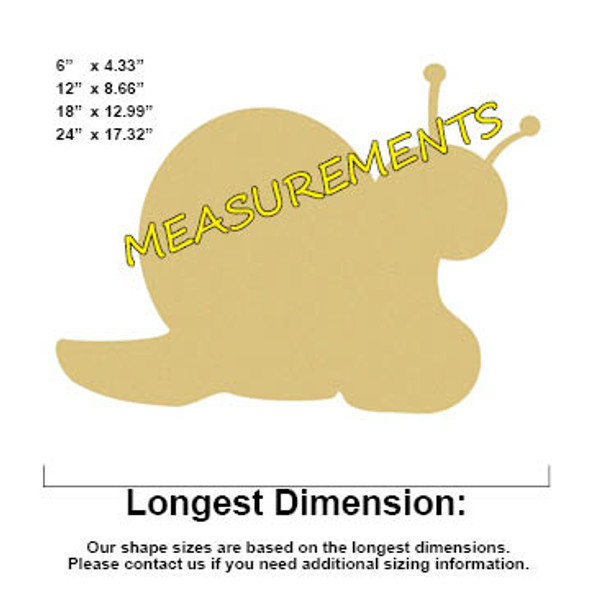 Snail Unfinished Cutout, Wooden Shape,  Paintable MDF DIY Craft