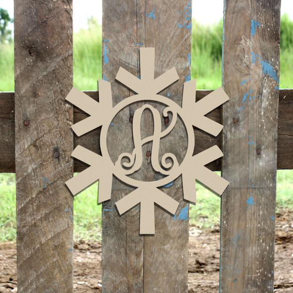 Snowflake Monogram Letter, Frame Wooden - Unfinished  DIY Craft