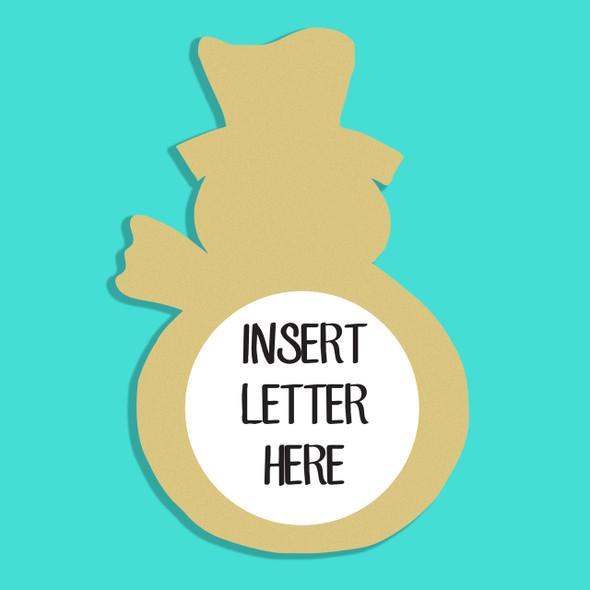 Snowman 2 Frame Letter Insert Wooden Monogram Unfinished DIY Craft