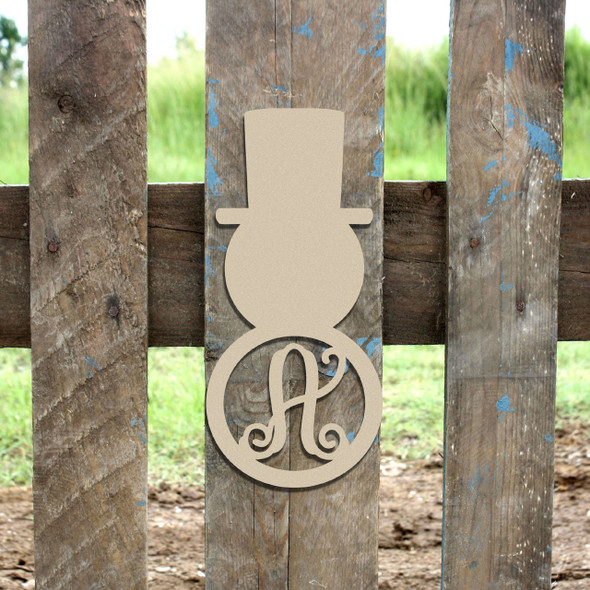 Snowman Monogram Letter, Snowman Frame Wooden - Unfinished  DIY Craft