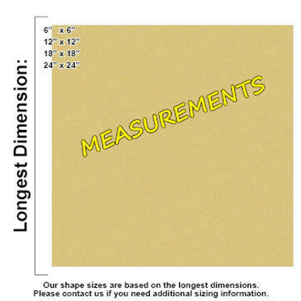 Square Unfinished Cutout Paintable Wooden MDF measurements