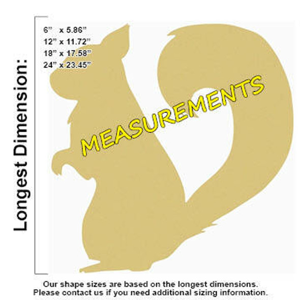 Squirrel Unfinished Cutout measurements