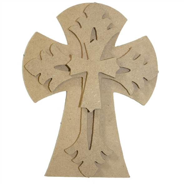 Unfinished Wooden Stacked Kit 4 Layered Crosses 9.5'' Sets Paintable Craft