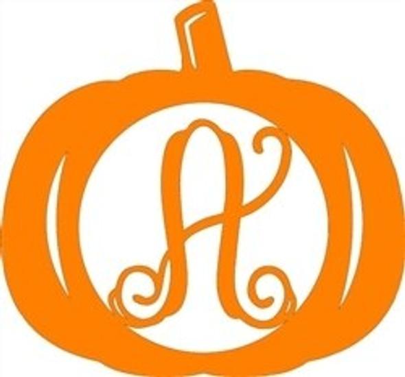 Pumpkin Wooden Frame Monogram Letter-A
