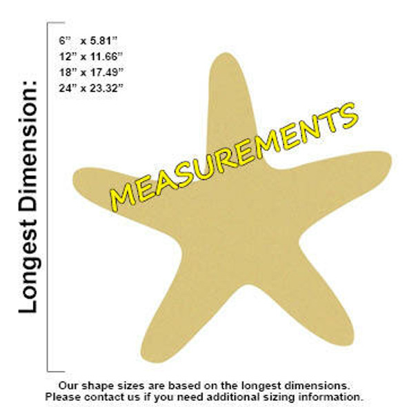Star Fish Unfinished Cutout Paintable Wooden MDF measurements