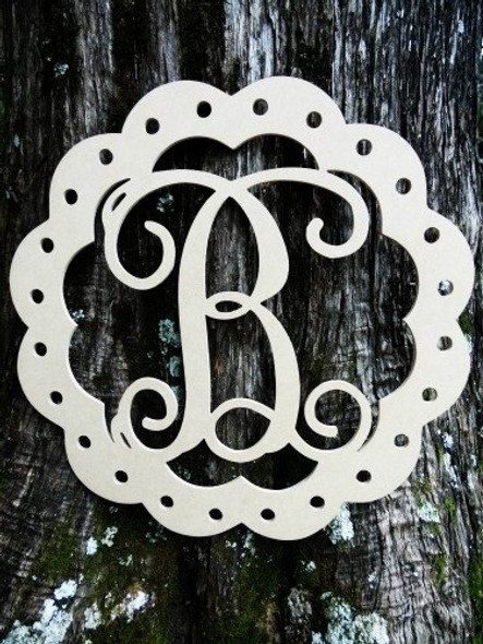 Scallop Monogram Letter Unfinished DIY Craft-B