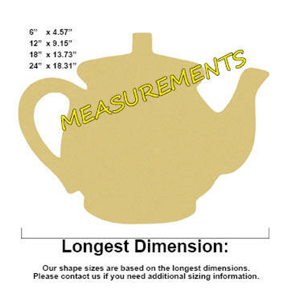 Teapot Unfinished Cutout Paintable Wooden MDF MEASUREMENTS
