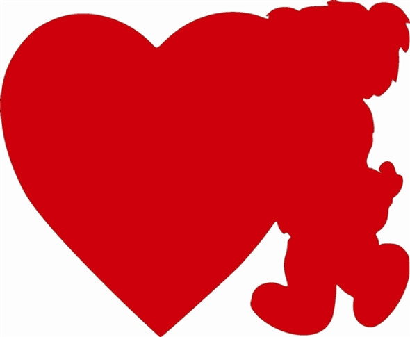 Teddy Bear with Heart Unfinished Valentine Cutout, Wooden Shape