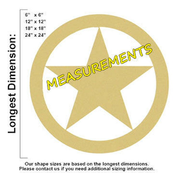 Texas Star Unfinished Cutout measurements