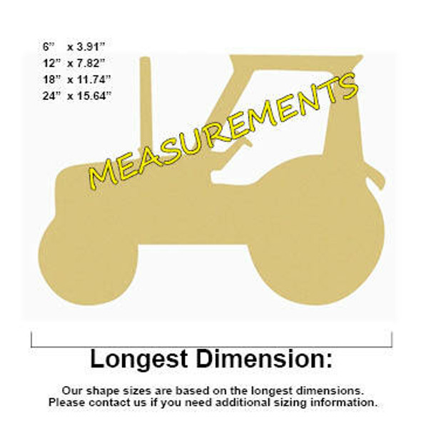 Tractor Unfinished Cutout Paintable Wooden MDF MEASUREMENTS