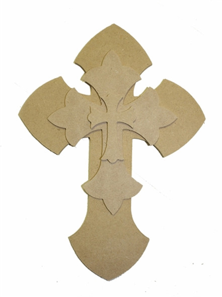 Unfinished Wooden Stacked Kit 11 Layered Crosses 9.5'' Sets Paintable Craft