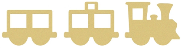 TrainSet Unfinished Cutout, Wooden Shape, Paintable MDF Craft 6'' Shapes on 1/4''