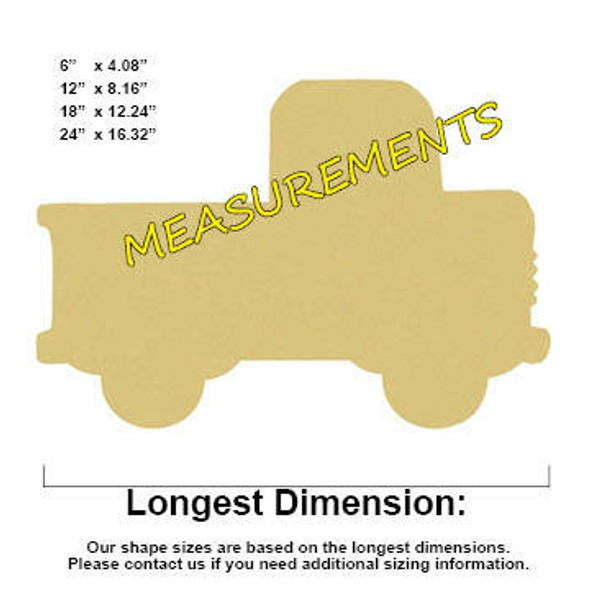 Truck Unfinished Cutout Paintable Wooden MDF MEASUREMENTS
