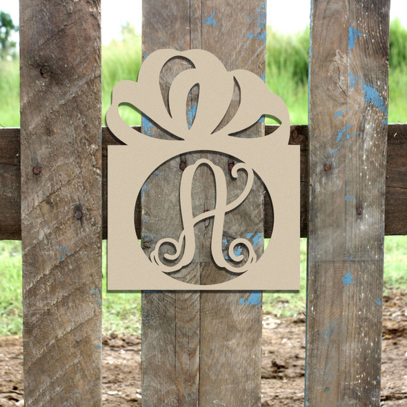 Frame Monogram Letter, Present Frame Wooden - Unfinished  DIY Craft