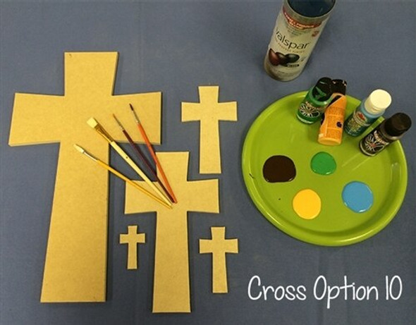 Cross 10 Unfinished Wooden Paintable Wall Hanging Stackable