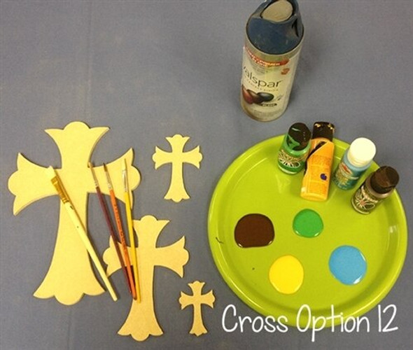 Cross 12 Unfinished Wooden Paintable Wall Hanging Stackable