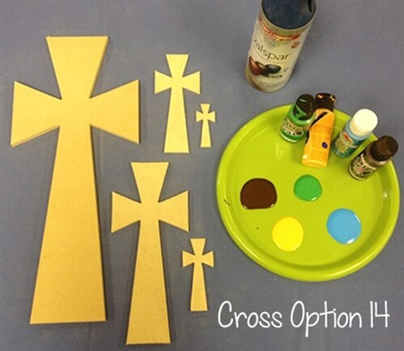 Cross 14 Unfinished Wooden Paintable Wall Hanging Stackable