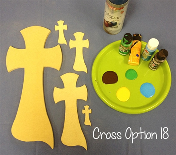 Cross 18 Unfinished Wooden Paintable Wall Hanging Stackable
