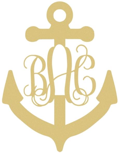 Anchor Decor Unfinished Anchor 3-Alphabet Letter Vine Monogram