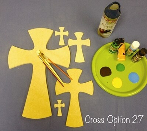 Cross 27 Unfinished Wooden Paintable Wall Hanging Stackable