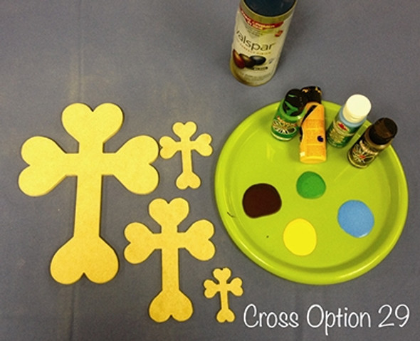 Cross 29 Unfinished Wooden Paintable Wall Hanging Stackable