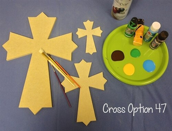 UNFINISHED WOODEN CROSS PAINTABLE WALL HANGING STACKABLE CROSS (47)