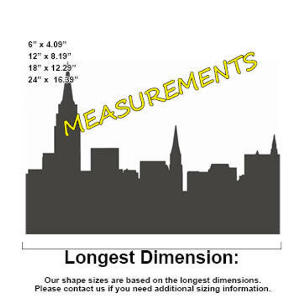 New York City Skyline Unfinished Cutout measurements
