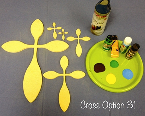 Unfinished Wooden Cross Paintable Wall Hanging Stackable Cross 31