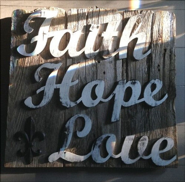 Unfinished Wooden Connected Word-Faith-Hope-Love