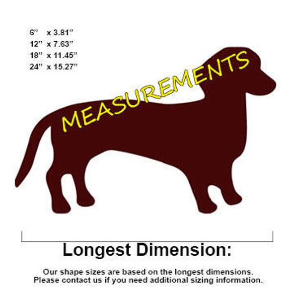 Dachshund Weenie Dog Unfinished Cutout measurements
